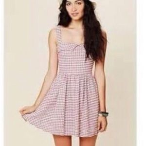 Free People Beach Red Gingham Dress Large